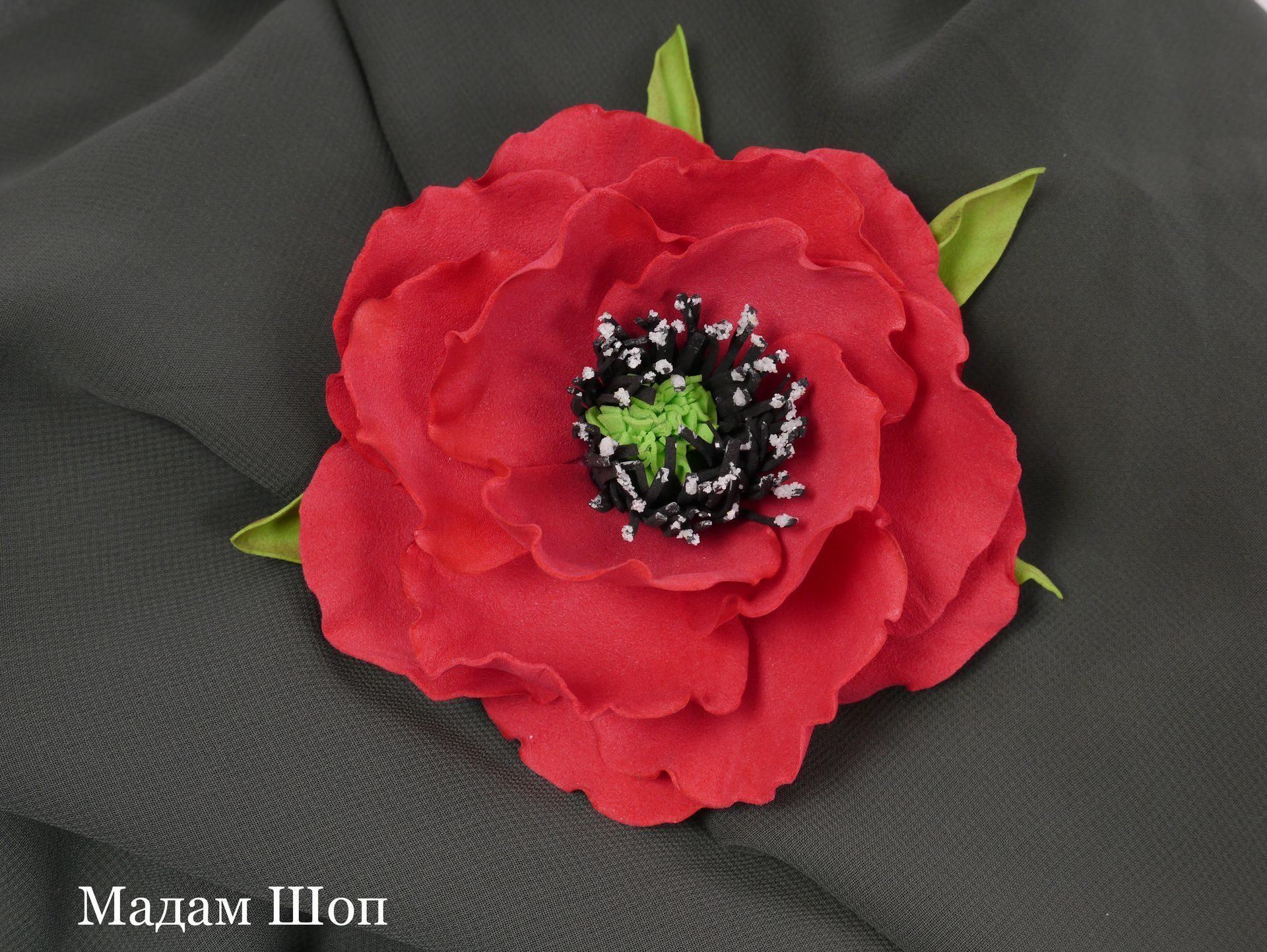 Цветок для броши из ткани своими руками 476