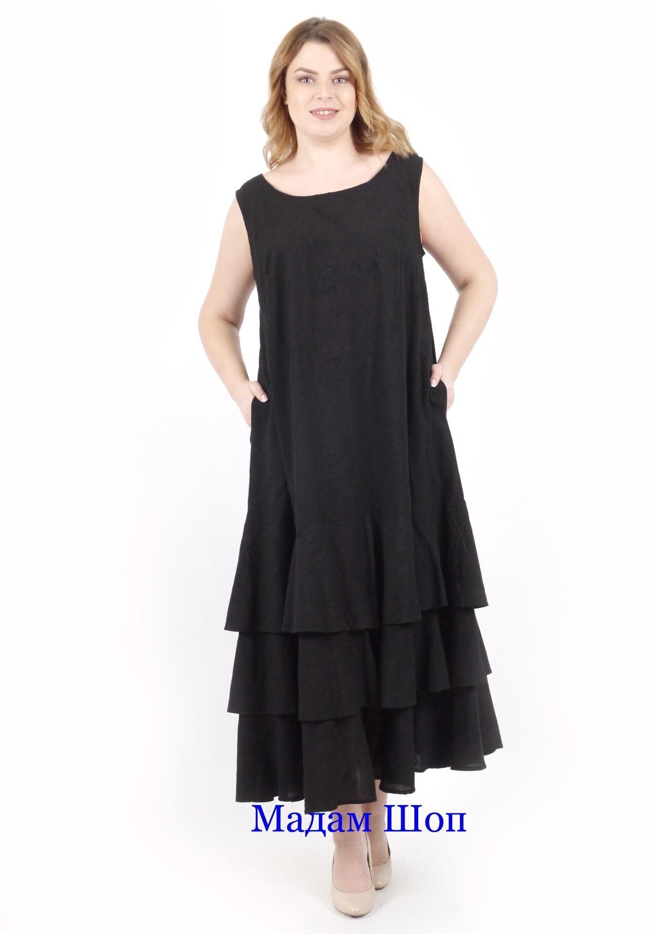 0eccfc491c2 Модный летний черный сарафан Boho style большого 54-56 размера из ...