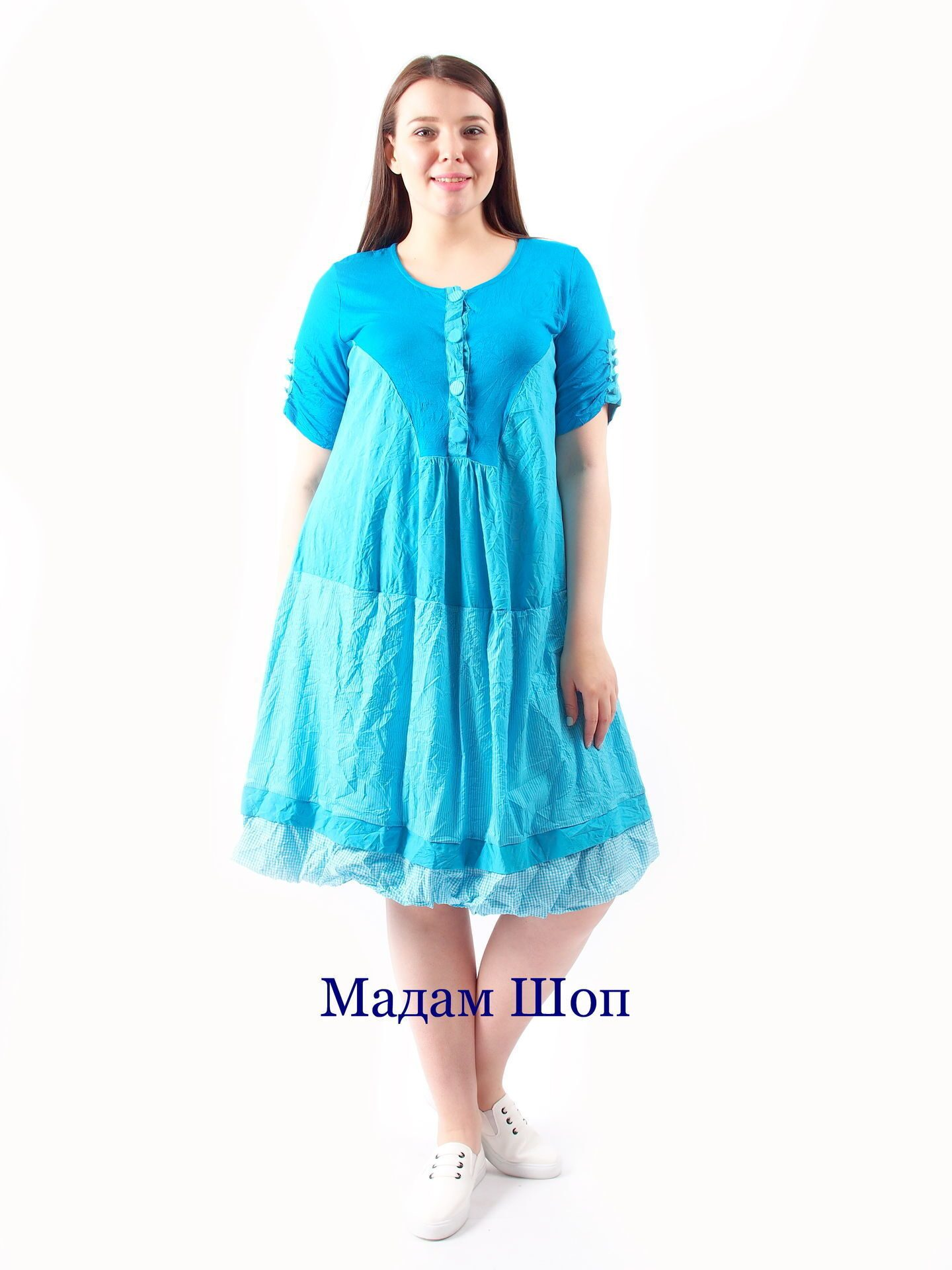 b50cfeee342 Платье пуговицы бирюза Donna Stella Турция
