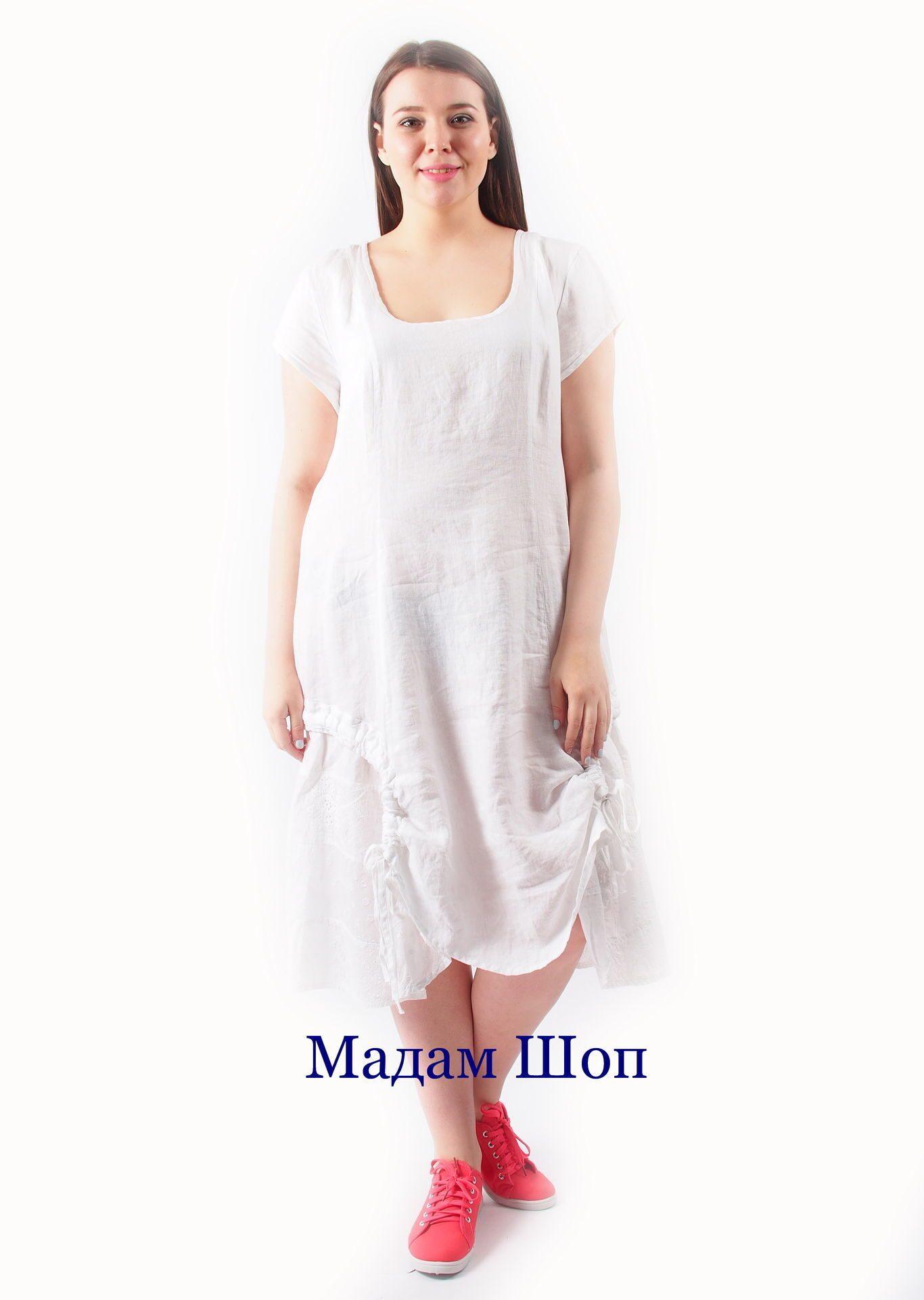 dab61f10972 Белое льняное платье с элементами этнического декора