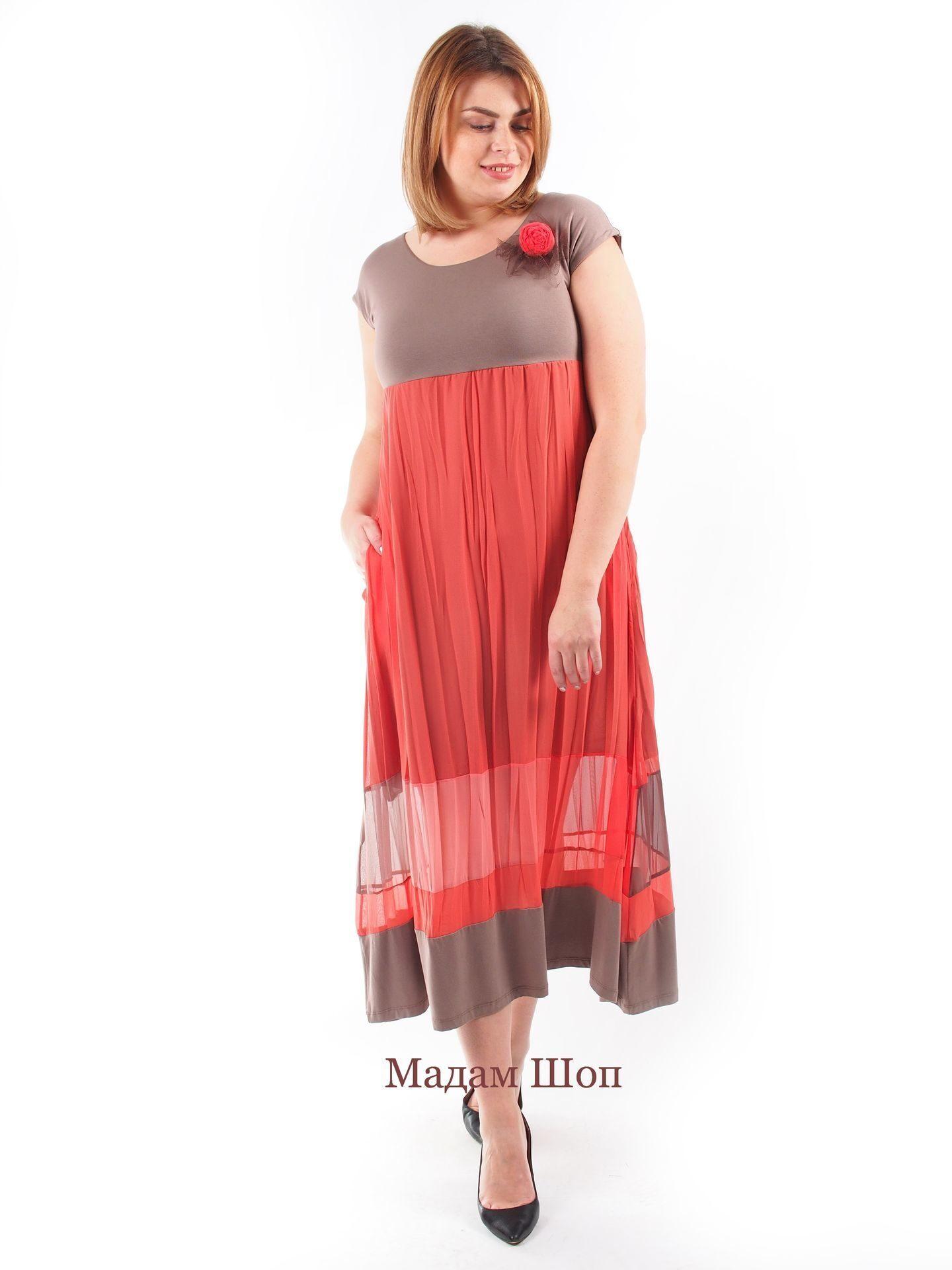bbd7e104a9a031b Кофейно-коралловая палитра в комбинированном платье из шёлка и трикотажа.  Кокетка прекрасно подчёркивает грудь