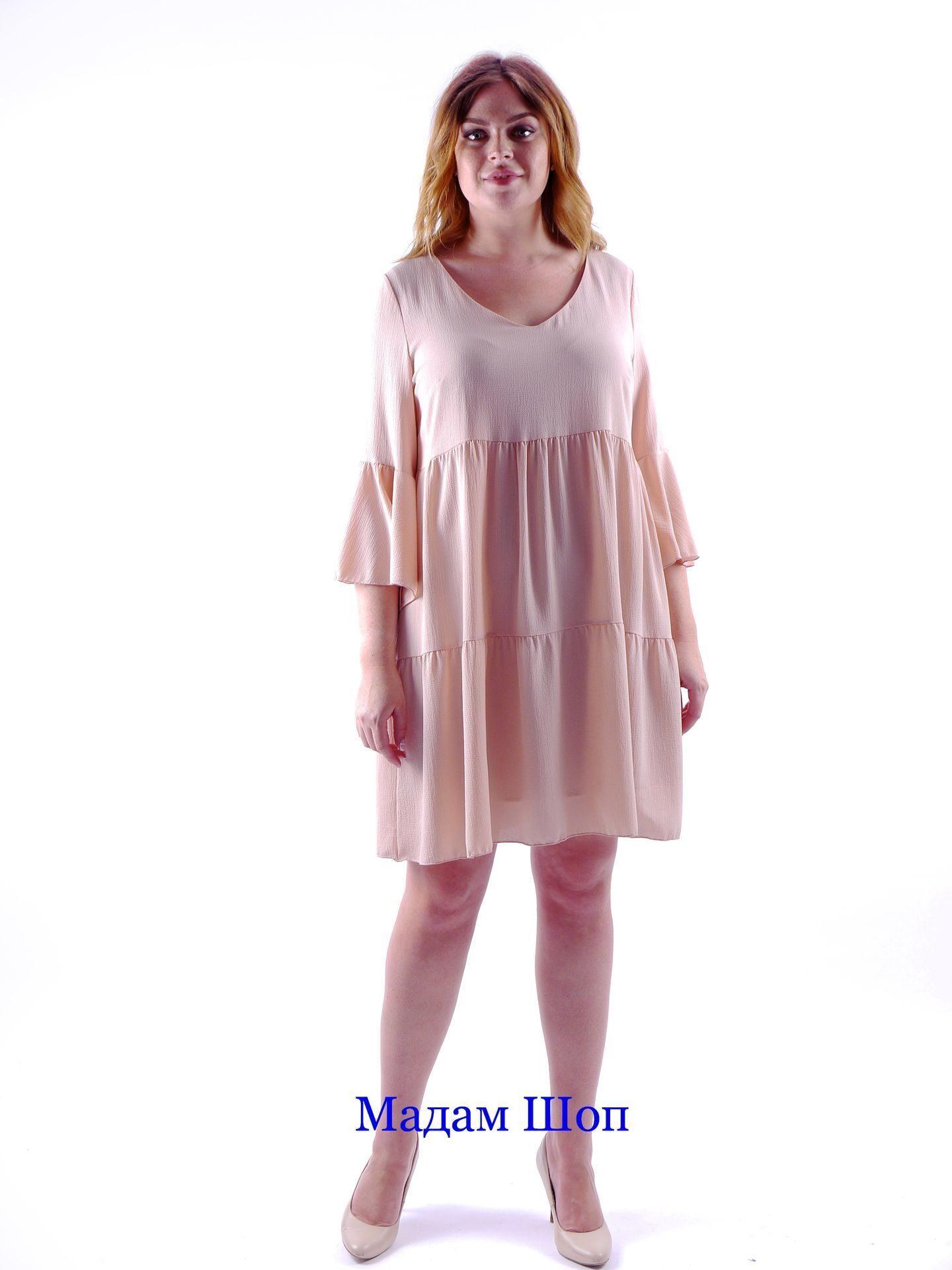 03707b558f8 Изящное платье в нежной персиковой палитре. Двухярусный подол от высокой  кокетки