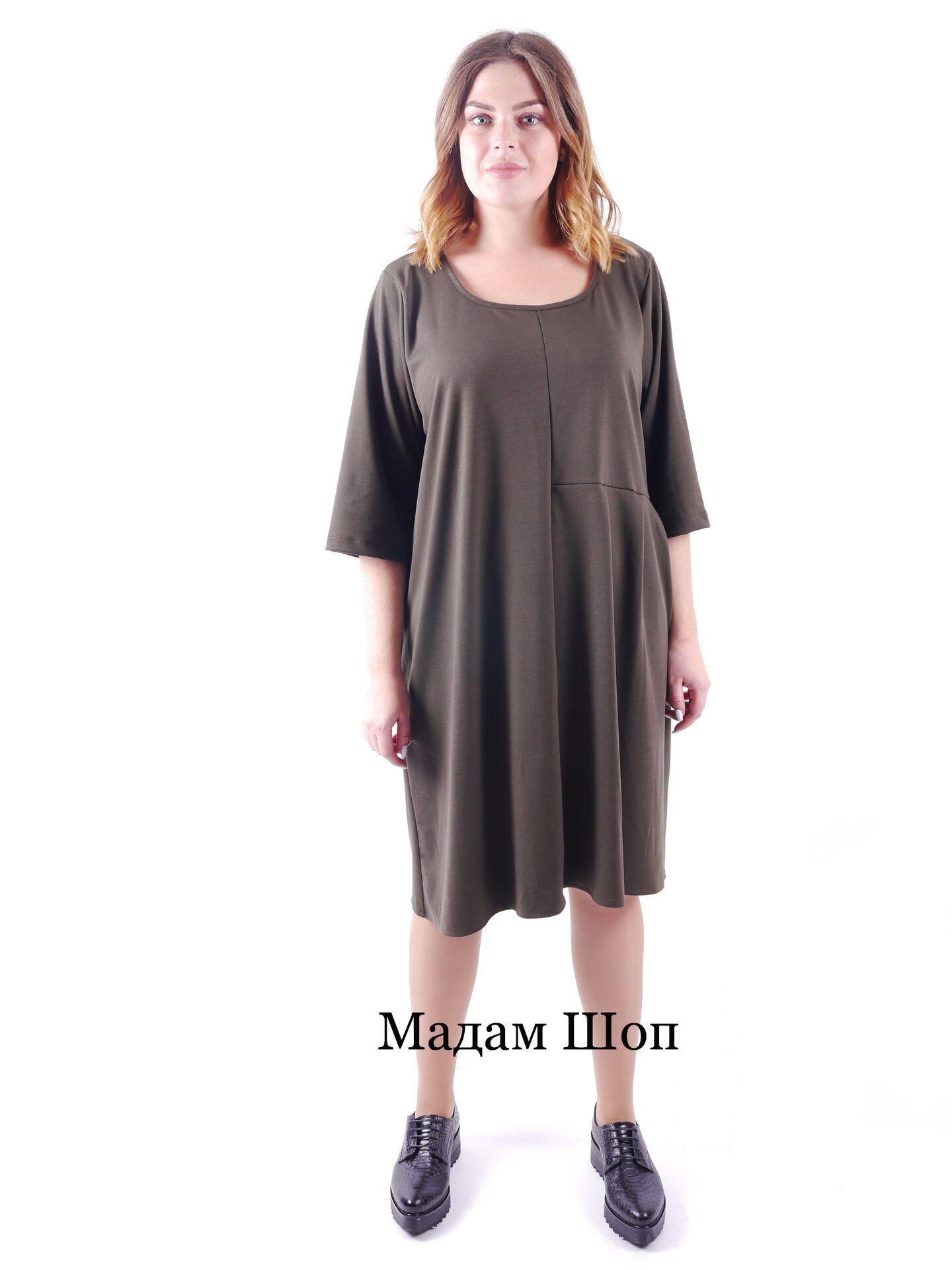 32577b268f4 Итальянское платье миди цвета хаки с рукавом ¾. Оригинального свободного  кроя