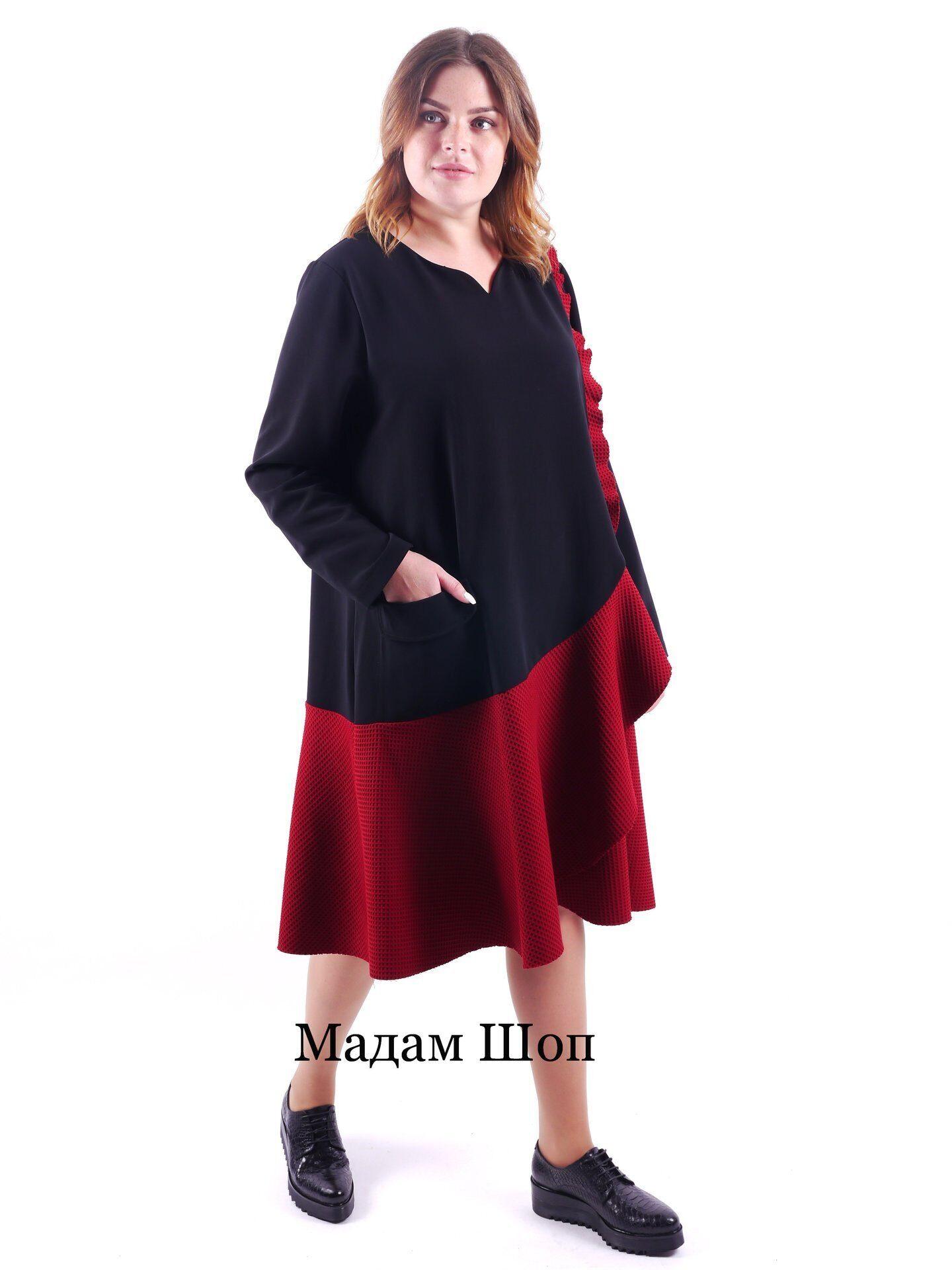 c02bedcb4ad Черно-красное турецкое платье F emme с накладным карманом 58-60-62 ...
