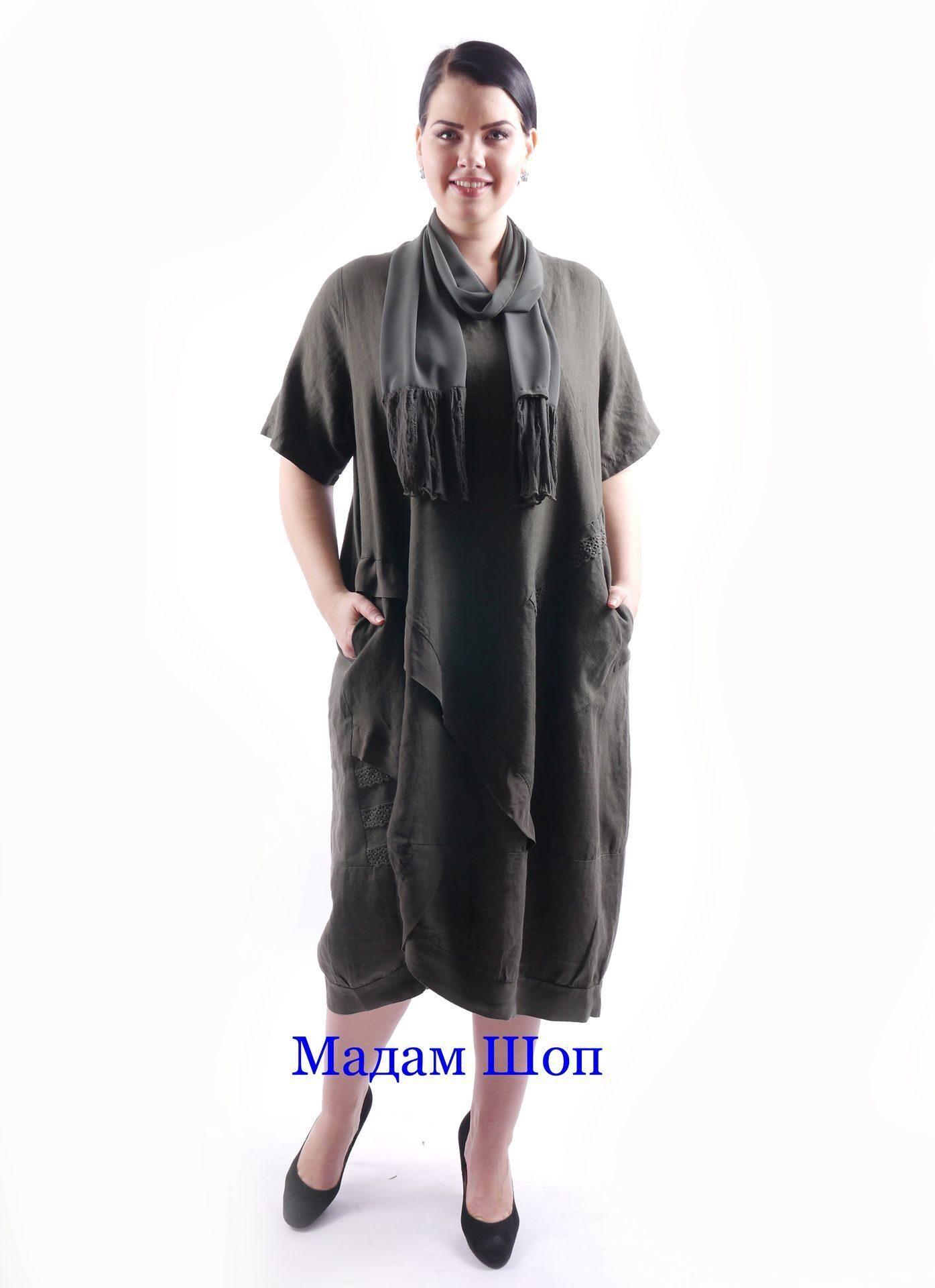 056b2b2a9a14bde Льняное платье с диагональными оборками. В комплекте стильный шарфик того  же тона