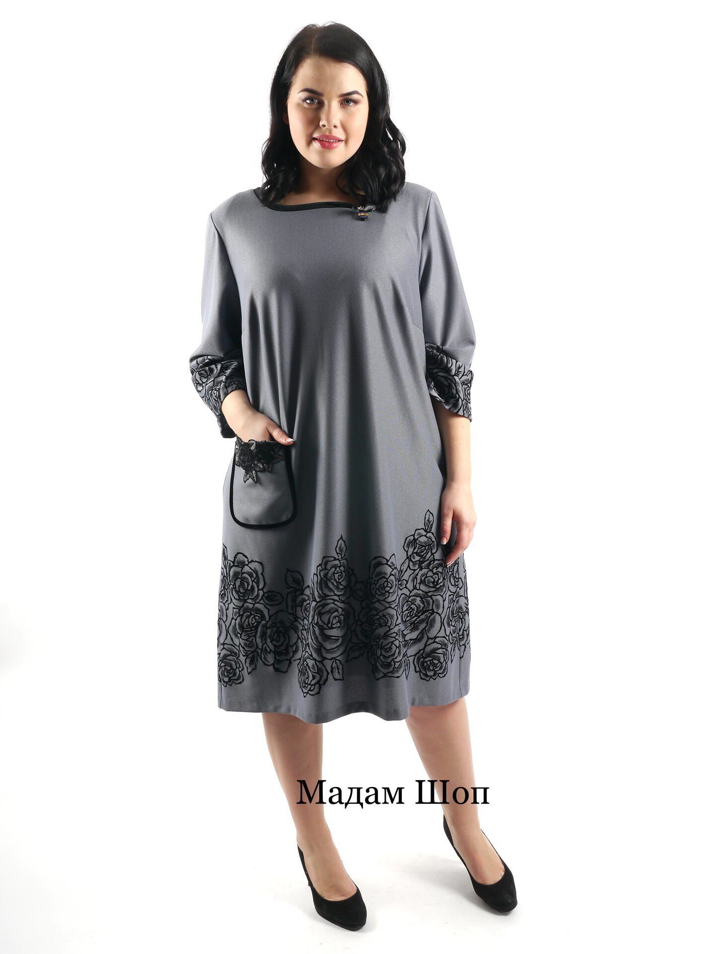 86872fe70a2 Нарядное серое платье с рукавом ¾