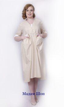 60d599f97bd3 Лёгкое летнее итальянское платье с отрезной юбкой от кокетки. Светлая  бежевая полоска