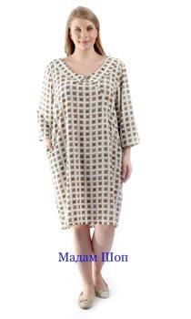 a22cddf046315 Свободное платье со слегка зауженной юбкой, с диагональным запахом на  пуговках. Принт – коричневая